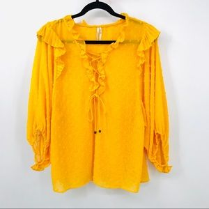 Anthropologie  L Yellow Haida Peasant Top